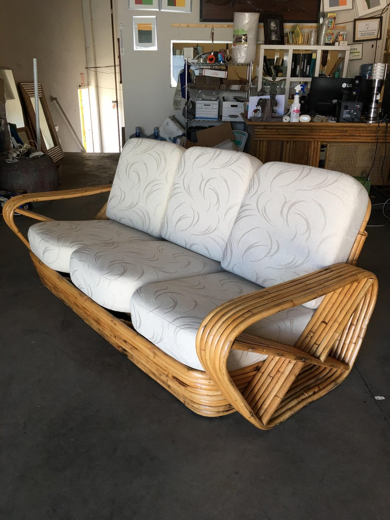 Rattan Restored Paul Frankl Style Six-Strand Square Pretzel Five-Seat Sectional Sofa For Sale