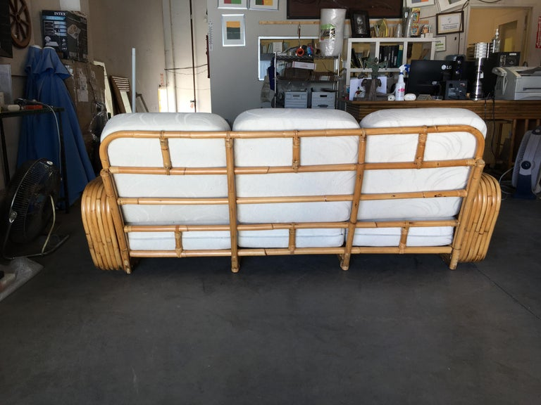 Restored Paul Frankl Style Six-Strand Square Pretzel Five-Seat Sectional Sofa For Sale 2