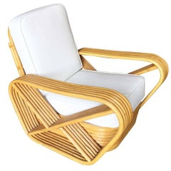 Restored Paul Frankl Style Six-Strand Square Pretzel Rattan Lounge Chair