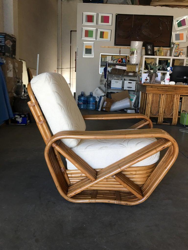 Restored Paul Frankl Style Six-Strand Square Pretzel Rattan Lounge Chair Ottoman For Sale 5