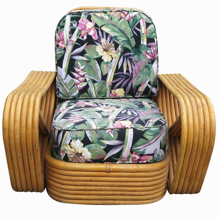 Art Deco Restored Paul Frankl Style Six-Strand Square Pretzel Rattan Lounge Chair Ottoman For Sale