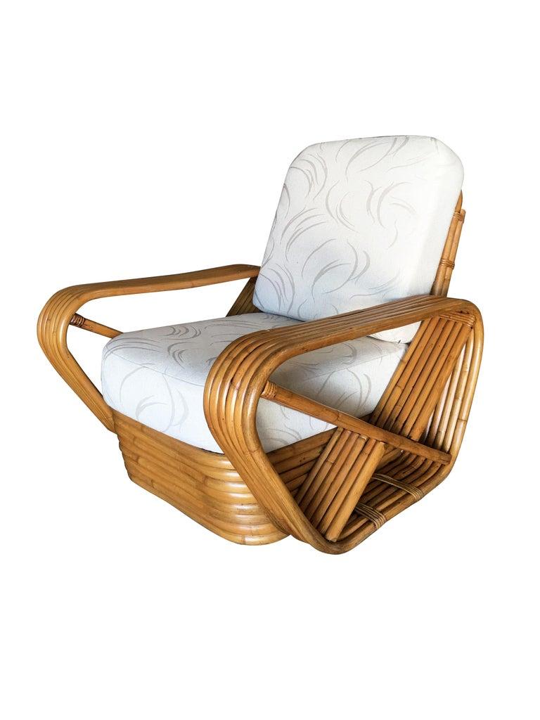 Mid-Century Modern Restored Paul Frankl Style Six-Strand Square Pretzel Rattan Lounge Chair Ottoman For Sale