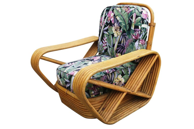 American Restored Paul Frankl Style Six-Strand Square Pretzel Rattan Lounge Chair Ottoman For Sale