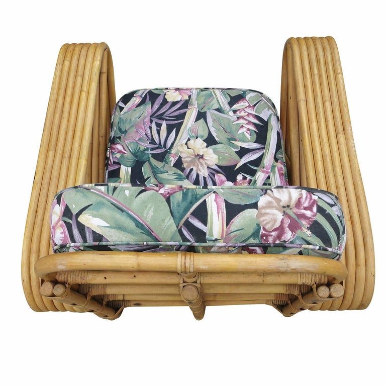 Restored Paul Frankl Style Six-Strand Square Pretzel Rattan Lounge Chair Ottoman In Good Condition For Sale In Van Nuys, CA