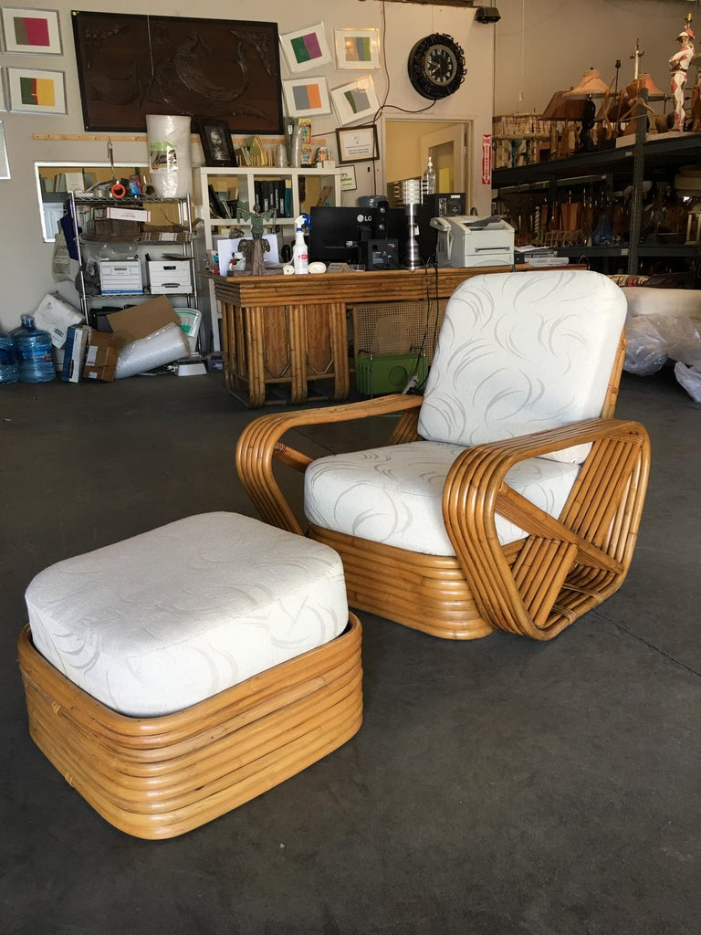 Restored Paul Frankl Style Six-Strand Square Pretzel Rattan Lounge Chair Ottoman In Excellent Condition For Sale In Van Nuys, CA
