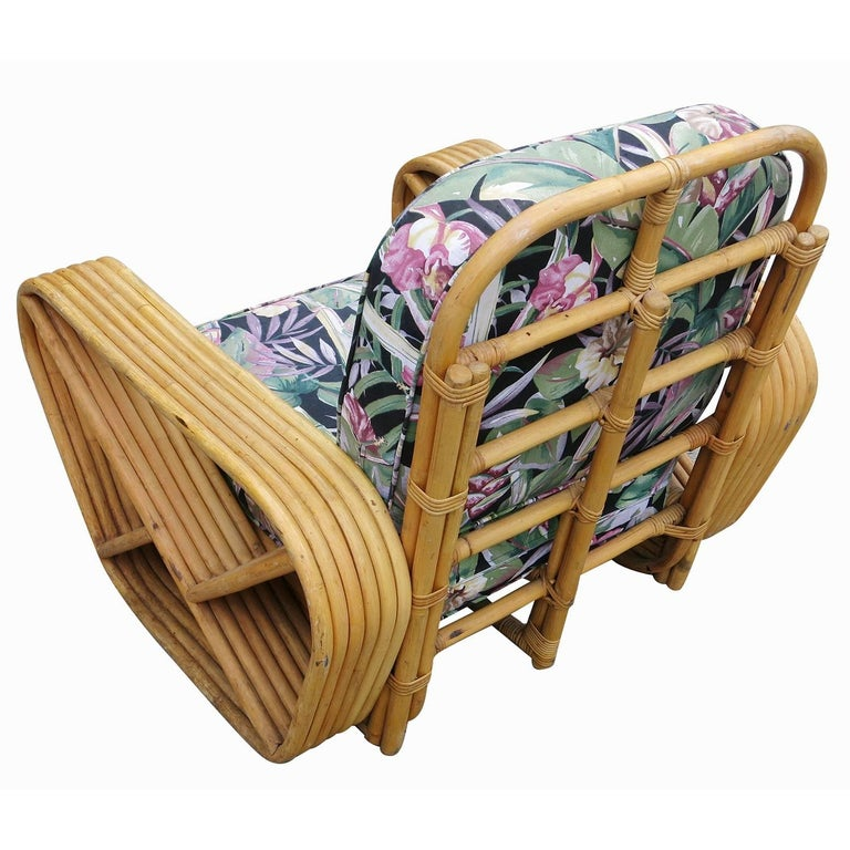 Mid-20th Century Restored Paul Frankl Style Six-Strand Square Pretzel Rattan Lounge Chair Ottoman For Sale