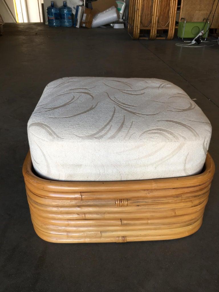 Restored Paul Frankl Style Six-Strand Square Pretzel Rattan Lounge Chair Ottoman For Sale 1