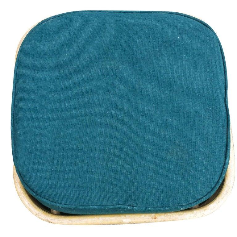 Restored Paul Frankl Style Six-Strand Square Pretzel Rattan Lounge Chair Ottoman For Sale 3