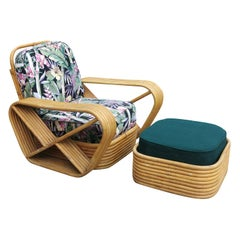 Paul Frankl Style Six-Strand Square Pretzel Rattan Lounge Chair Ottoman, Chaise
