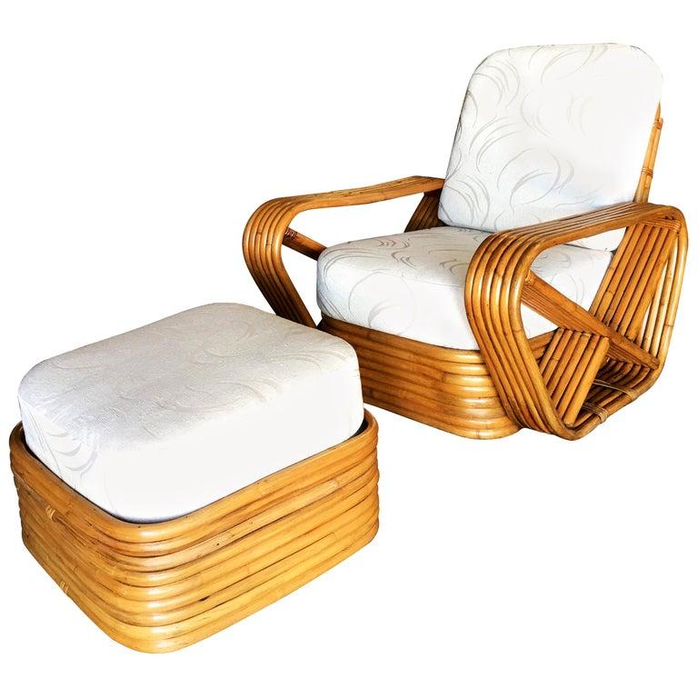 Restored Paul Frankl Style Six-Strand Square Pretzel Rattan Lounge Chair Ottoman For Sale