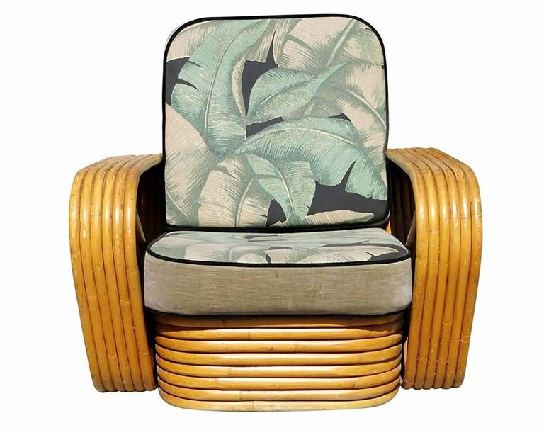 Rattan Restored Paul Frankl Style Sofa and Lounge Chair Set For Sale