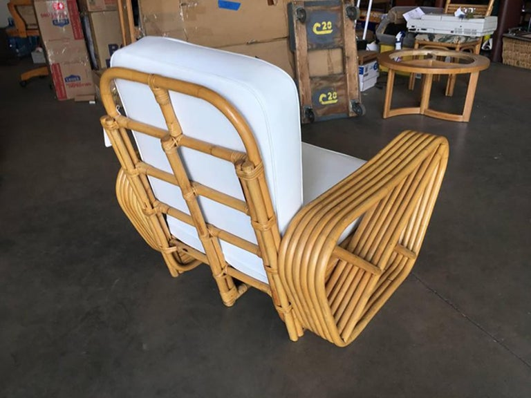 Art Deco Restored Paul Frankl Style Square Pretzel Rattan Armchairs, Pair For Sale