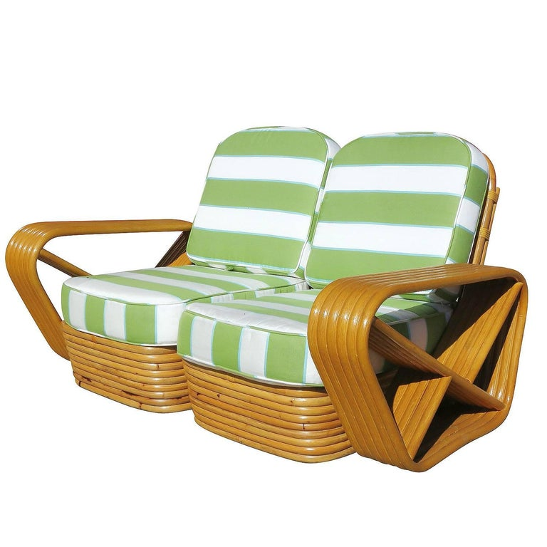 Art Deco Restored Paul Frankl Style Square Pretzel Rattan Settee For Sale