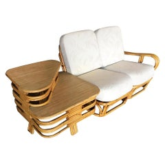 "Restored Paul Frankl Style Square Pretzel ""S"" Arm Rattan Sofa with 2-Tier Table"