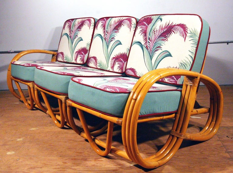 Mid-Century Modern Restored Paul Frankl Style Three-Strand Reverse Pretzel Rattan Sofa For Sale