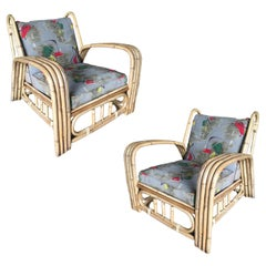 Restored Paul Laszlo Four-Strand Bent Arm Rattan Lounge Chair, Pair