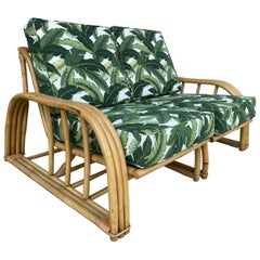 Restored Paul Lazslo Rattan Three Strand Sectional Settee Sofa