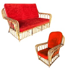 "Restored ""President's"" Art Deco Stick Rattan Living Room Set"