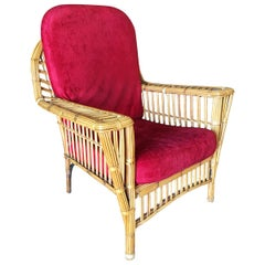 "Restored ""President's"" Art Deco Stick Rattan Lounge Chair with Tapered Legs"