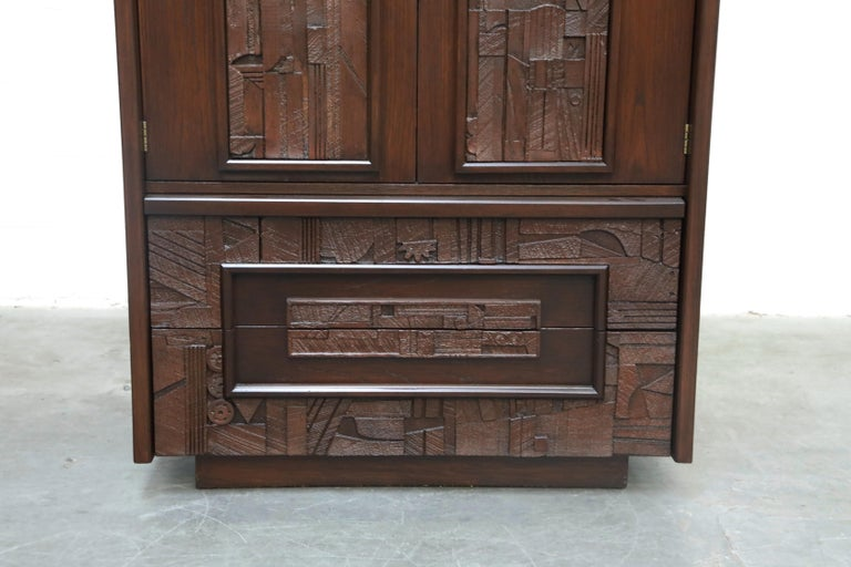 Restored 'Pueblo' Brutalist Bedroom Dresser Set by Lane, 1970s, Signed For Sale 3
