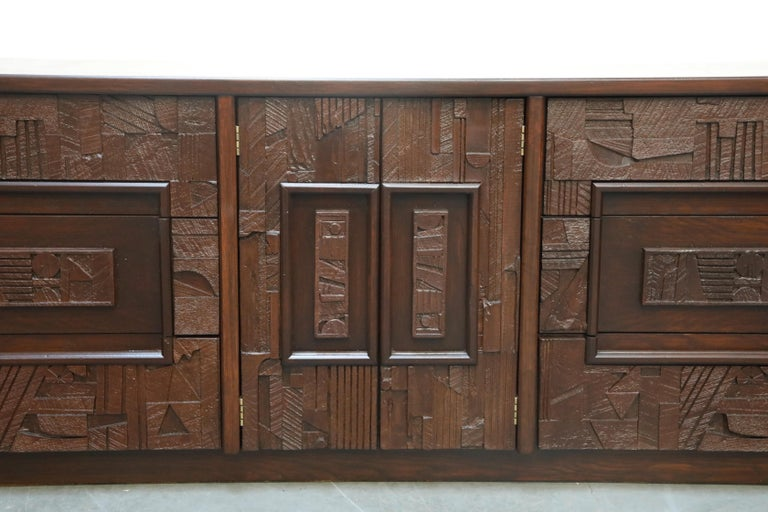 Restored 'Pueblo' Brutalist Bedroom Dresser Set by Lane, 1970s, Signed For Sale 4
