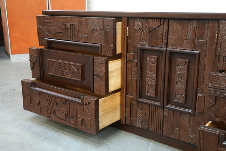 Restored 'Pueblo' Brutalist Bedroom Dresser Set by Lane, 1970s, Signed For Sale 6