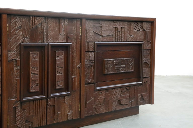 Restored 'Pueblo' Brutalist Bedroom Dresser Set by Lane, 1970s, Signed For Sale 11