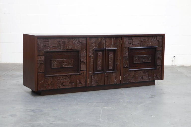 Mid-Century Modern Restored 'Pueblo' Brutalist Bedroom Dresser Set by Lane, 1970s, Signed For Sale