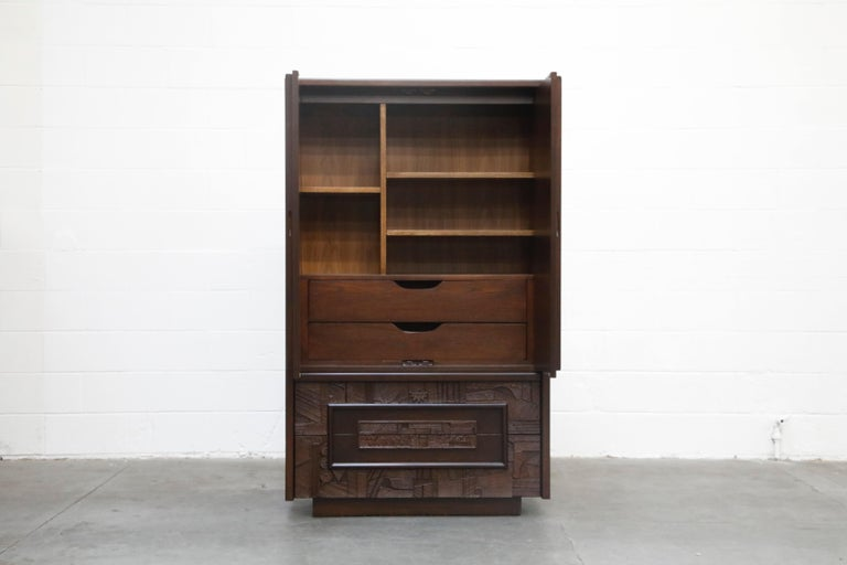 American Restored 'Pueblo' Brutalist Bedroom Dresser Set by Lane, 1970s, Signed For Sale