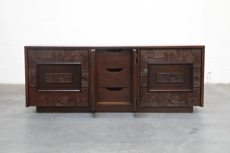 Restored 'Pueblo' Brutalist Bedroom Dresser Set by Lane, 1970s, Signed In Excellent Condition For Sale In Los Angeles, CA