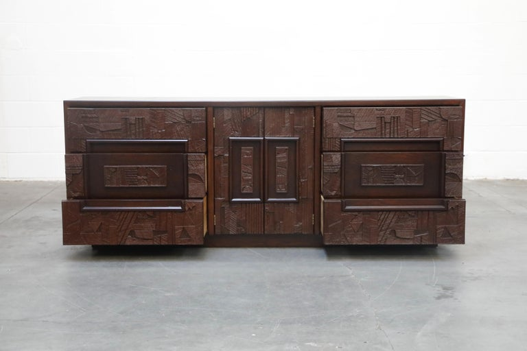 Late 20th Century Restored 'Pueblo' Brutalist Bedroom Dresser Set by Lane, 1970s, Signed For Sale