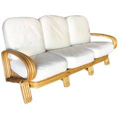 "Restored ""R"" Arm 3-Seat Sofa with Quad Pole Rattan Design"