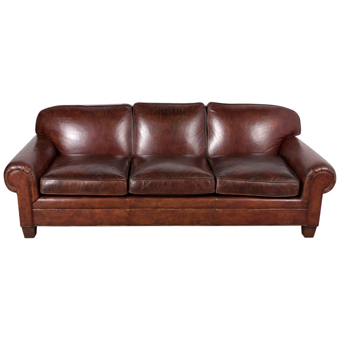 Restored Ralph Lauren Leather Sofa For Sale