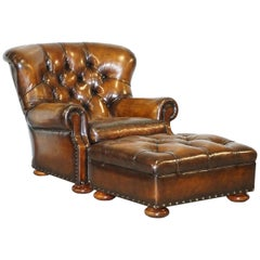 Restored Ralph Lauren Writer's Brown Leather Armchair and Footstool