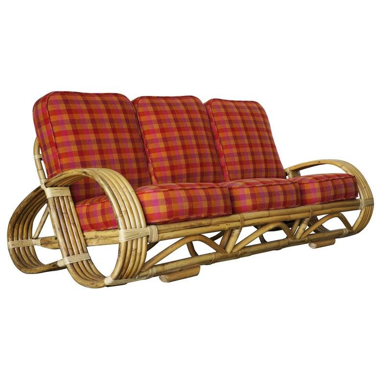 Restored rare five strand reverse pretzel rattan living - Rattan living room furniture for sale ...
