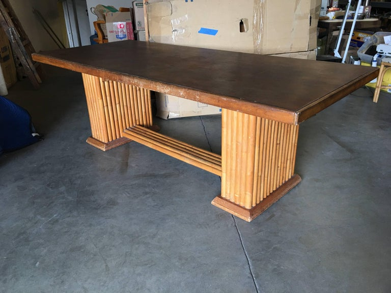 Rattan Restored Rare Paul Frankl Dining Room Table and Chairs Set For Sale