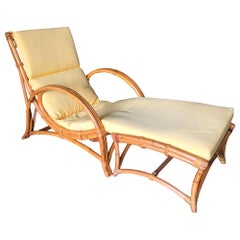 Restored Rare Two-Strand Slope Seat Rattan Lounge with Ottoman