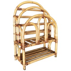 Restored Rattan Art Deco Magazine Rack with Stacked Base, circa 1950