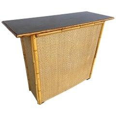 Restored Bamboo Bar with Grassmat Front and Mahogany Top, 1950