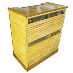 Restored Rattan Bar with Mirror Front and Mahogany Top, 1940