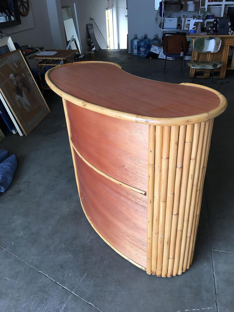 Restored Rattan Bar With Wood Grain Formica Top And