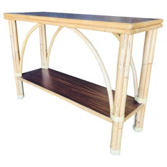 """Restored Rattan """"Double Arch"""" Sofa or Console Table with Two-Tier Mahogany Tops"""
