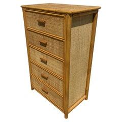 Restored Rattan Highboy Dresser with Grassmat Wrappings