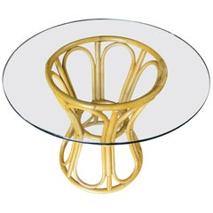 """Restored Rattan """"Hour Glass"""" Dining Table with Round Glass Top"""