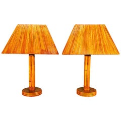 Restored Rattan Pole Lamps with Rare Split Rattan Lamp Shade, Pair