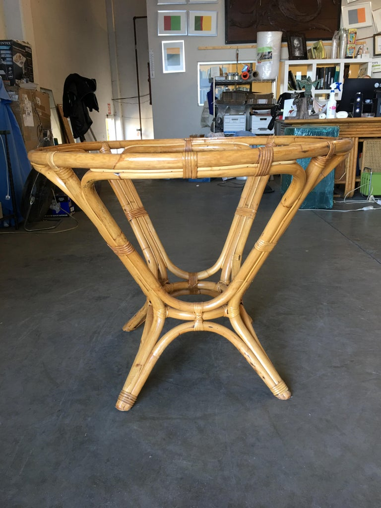 glass dining room tables for sale | Restored Rattan Round Glass Top Dining Table For Sale at ...