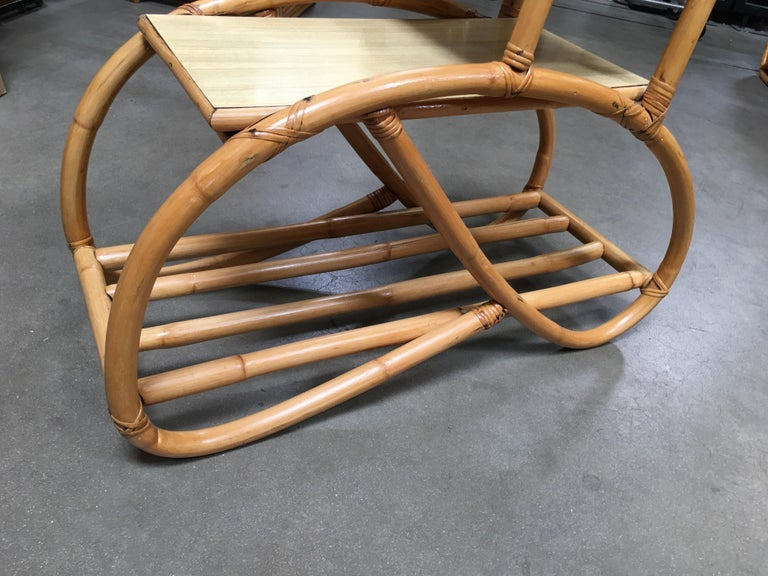Restored Rattan Side Table with Three-Tier Blonde Formica Tops For Sale 3