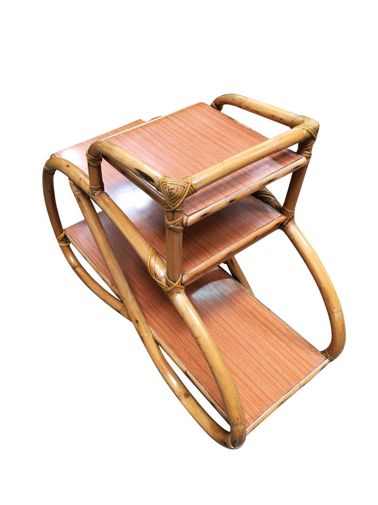 American Restored Rattan Side Table with Three-Tier Formica Tops, Pair For Sale