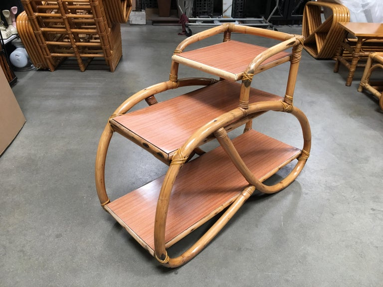 Wicker Restored Rattan Side Table with Three-Tier Formica Tops, Pair For Sale