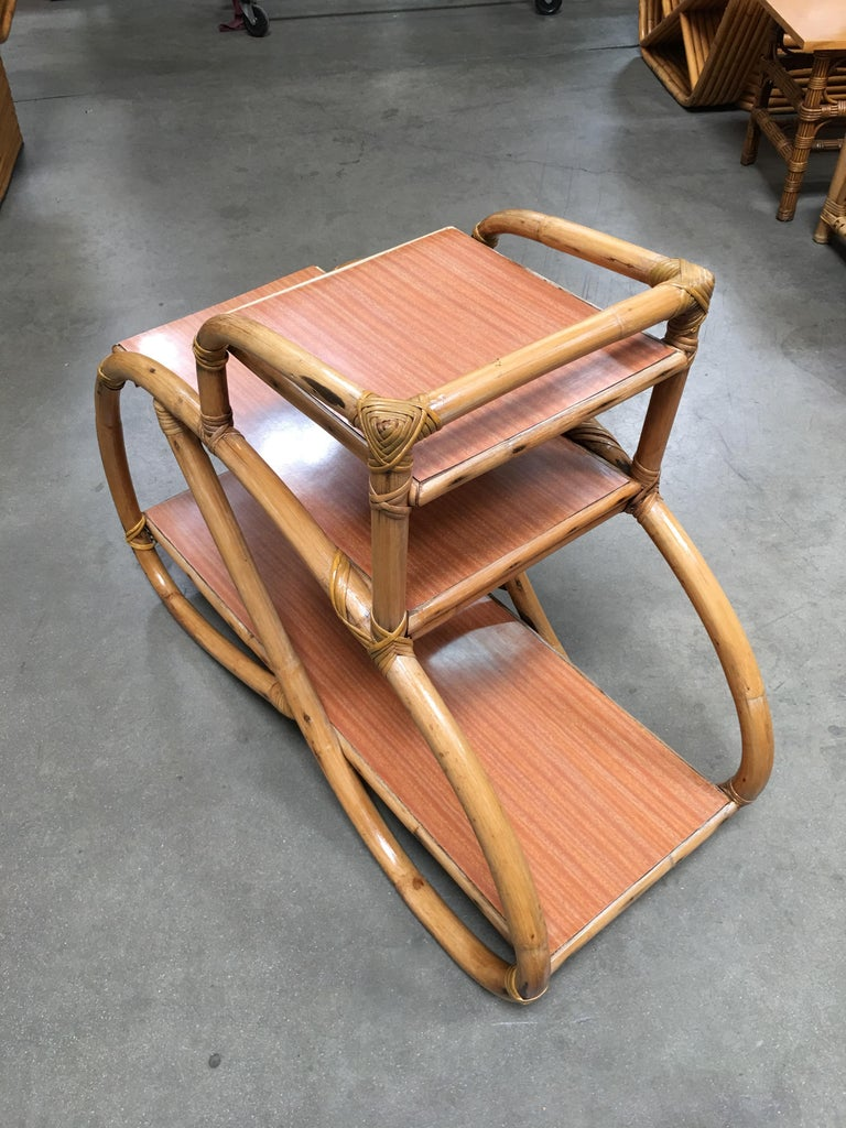 Restored Rattan Side Table with Three-Tier Formica Tops, Pair For Sale 1